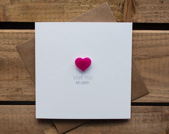 Love you Mummy Card with magnetic Love Heart Keepsake // Mother's Day Card // Mummy Birthday Card // Magnet Card
