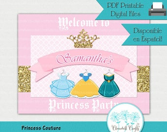Princess Couture Inspired Printable Welcome Sign / Cartel Bienvenida