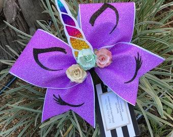 Lavender Unicorn cheer bow
