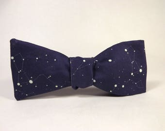 Constellation bowtie, Blue, yellow stars, Space bowtie, Star bowtie, Astronomy bowtie, Zodiac bowtie