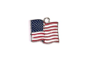 Silver Plated Enamel American Flag Charm - 1 Piece - 77