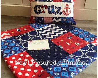 NEW! Nautical Baby Quilt and Pillow in Red, White and Blue