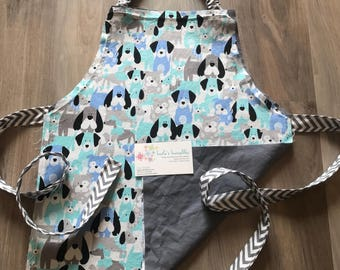 Toddler puppy apron with pocket and elastic neck