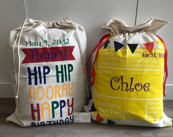 Birthday Bags, Name Embroidered