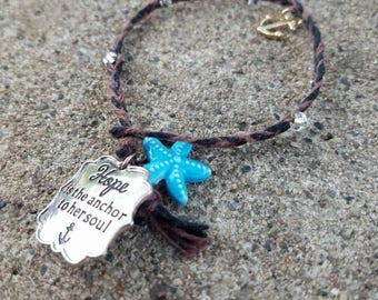 OOAK Braided Hope Charm Bracelet With Starfish and Anchor