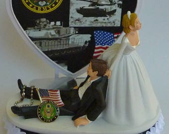 Wedding Cake Topper U.S. Army Themed Bride Dragging Groom Military Enlisted USA Humorous Funny Heart Dog Tag Flag Reception Bridal Shower