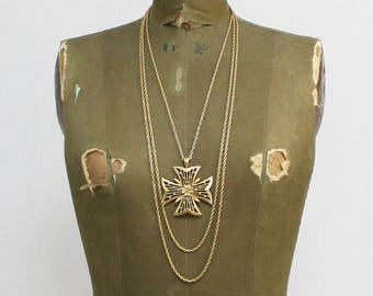 70s Gold Floral Statement Necklace - Vintage 1970s Triple Strand Gold Chain