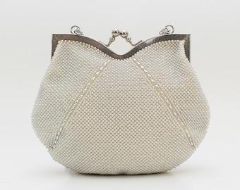 Silver Beaded Handbag - Vintage 1960s Metallic Evening Bag