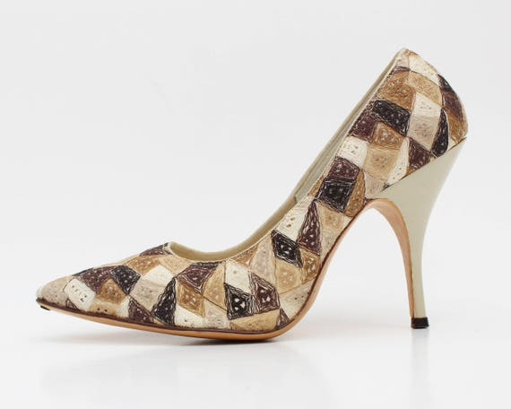 Earth Tone Embroidered Patchwork Heels - Size 7 - Vintage 1960s Kitty Kelly High Heel Pumps