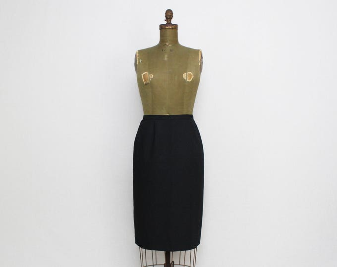 Vintage 1980s Albert Nipon Black Micro Dot Pencil Skirt - Size Small