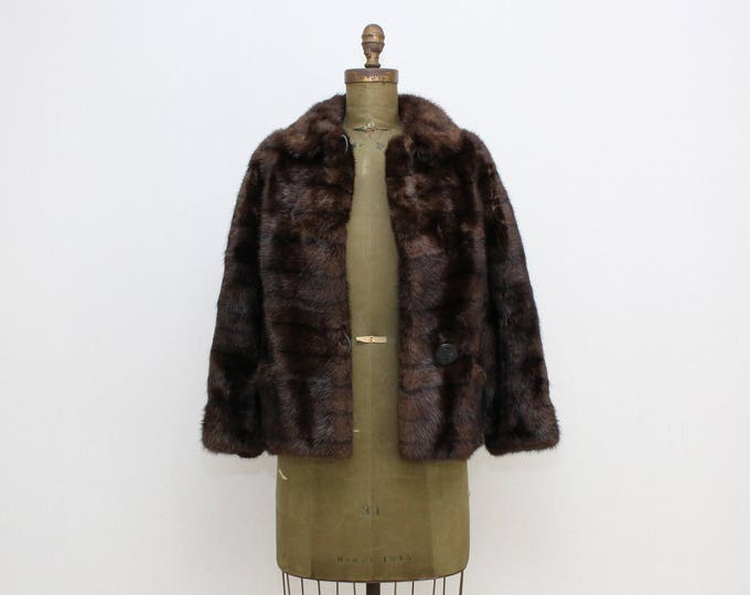 Vintage 1960s Dark Brown Muskrat Fur Jacket - Size Medium