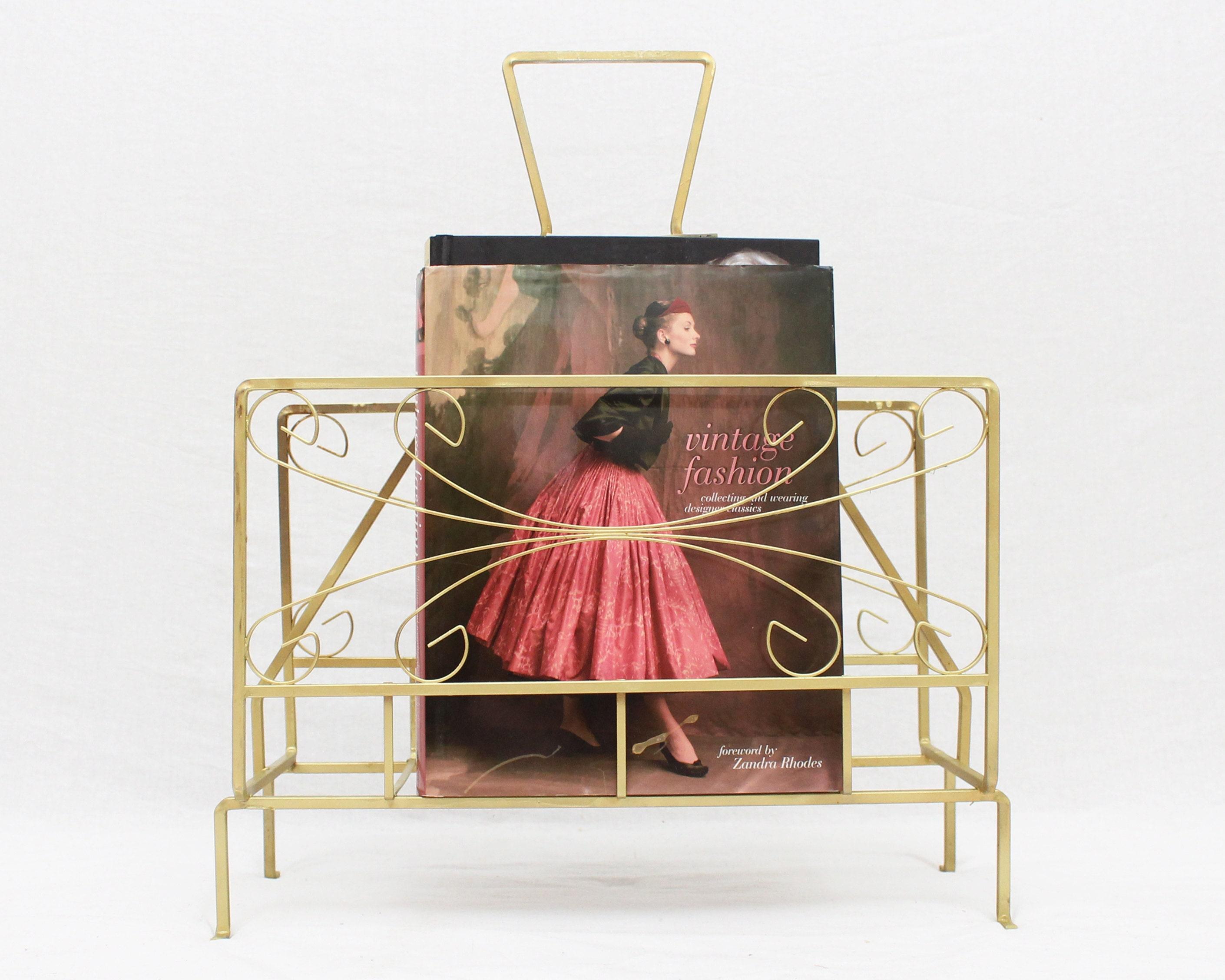 mid century gold magazine rack