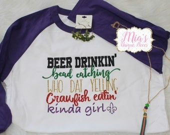 Mardi Gras Raglan Shirt, Bead Catching Shirt, Mardi Gras, Crawfish Shirt