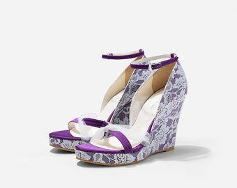 Bella Bells 5 Inches Purple Custom Made Lace Wedding Shoes, 5 Inch Platform Wedge with Lace Overlay, Bridal Shoes, Beach Wedding Shoes