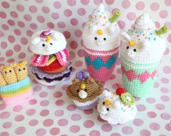Unicorn Crochet Party!! Crochet pattern Unicorn Milkshake, Unicorn Burger, Unicorn Cupcakes, Unicorn Fries!!!