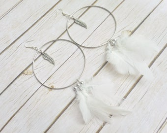 Fluffy snow white feathers hoop earrings ladies bohemian jewelry handmade silver jewelery unique stylish fashion gypsy gift trending items