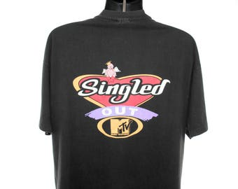 1996 Singled Out Rare Vintage Jenny McCarthy + Chris Hardwick Cult Classic 90's Pop Culture MTV Dating Game Show Promo T-Shirt