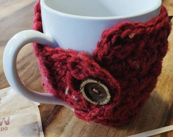 Oversized Crocheted Coffee Cup Cozy with Wooden Button