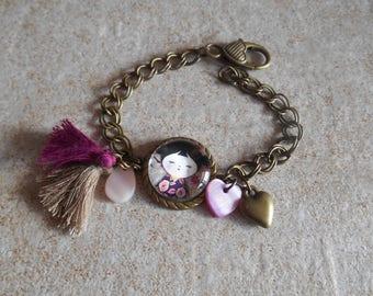 Bracelet  tassel fancy kokeschi pendant ,