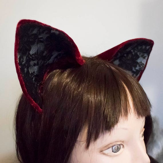 Red Velvet and Lace Cat Ears