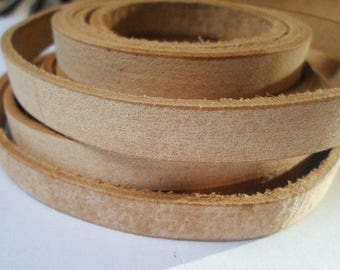 "32"" No Joins,  Vintage  10mmAlmond  Flat Leather Cord, finding, jewelry making craft supplies,  leather supplier,"