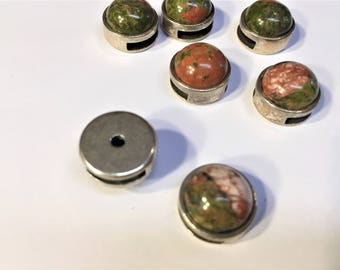 1 Unakite Gemstone 10mm Flat Silver Slider Leather, bracelet finding, jewelry supplies
