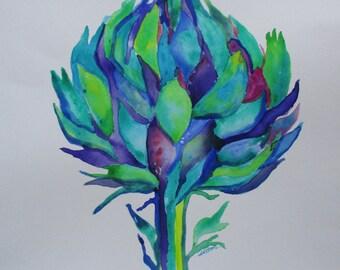 Original watercolor artichoke, artichoke painting, kitchen art, kitchen home decor