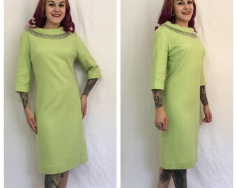 Vintage 1960's Lime Green Dress with Beaded Collar