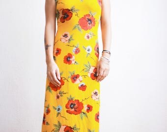 90s Slinky Summer Dress // Flower Power Long Dress