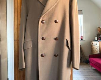 Mens Vintage Camel Wool Dunn & Co Over Coat Large