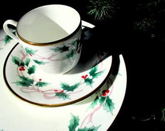 NOS Mikasa Fine Bone China 3-Piece Place Setting - Ribbon Holly - Dinner Plate, Cup, Saucer - 2 Sets Available