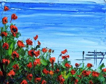 California Art, Monterey Bay, California Painting, California Landscape, Oil painting, Original Art, 6x6, California Poppies, Art,California