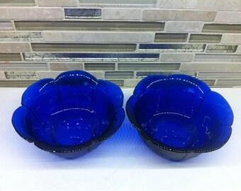 Cobalt Blue  Glass Cereal Bowls  - Dessert Fruit Bowls - Flower Shaped Bowl