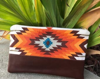 Printed Aztec and leather