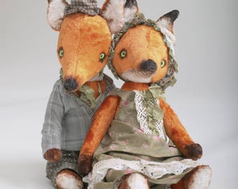 Mr And Mrs Fox plush teddy  Teddy Bear Stuffed Toys Bear Sawdust Vintage Style Sawdust Filler OOAK