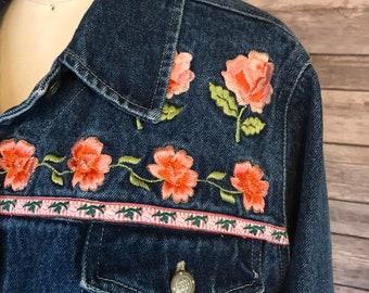 1980s Rose Embroidered Denim Jacket / 80s Floral Jean Jacket / Vintage Funky Bill Blass Jacket