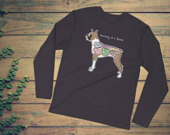 Anatomy of a Boxer - Funny Boxer Dog Tee - Long Sleeve Fitted Crew