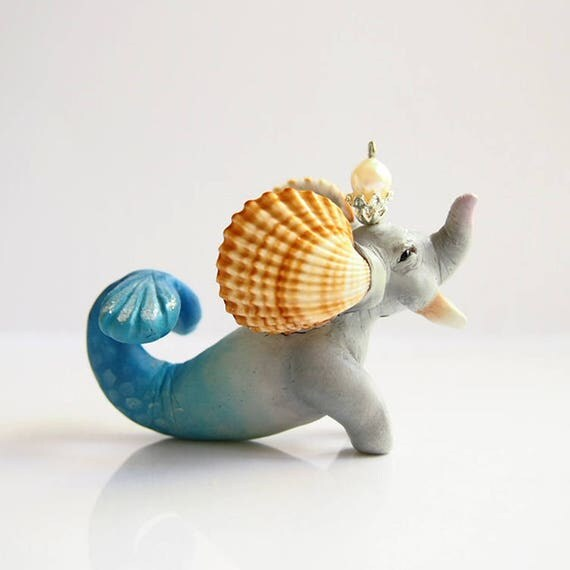 SEA ELEPHANT - Handmade Polymer Clay Sculpture With a Swarovski Crystal
