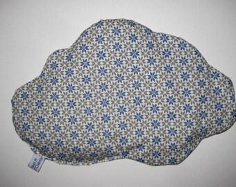 Bouillotte sèche, noyaux de cerises, en forme de nuage, en tissu géométrique bleu  et gris