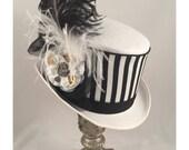 STEAMPUNK TOP HATS, White Top Hat, Steampunk Shop, Steampunk Accessories, White, Black, Ostrich