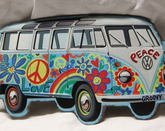 Metal VW Hippie van metal tin sign