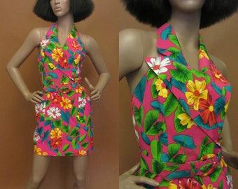 1980s Bill Blass pink mini dress | 80's 90's designer silk floral dress