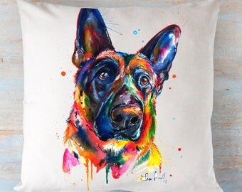 German Shepherd Colorful Painting on a pillow!