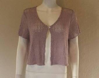 90s purple open front crochet top Sz large Good condition