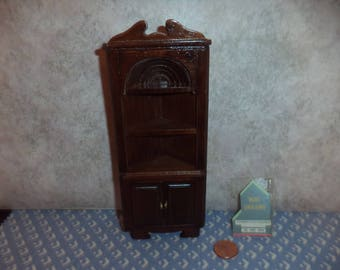 1:12 scale Dollhouse Vintage Walnut color Corner Hutch