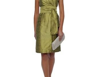 silk wrap dress in kimono style In OLIVGOLD dupioni wildsilk wedding dress bridal gown