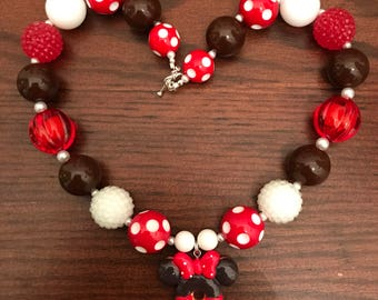 Disney inspired Minnie and Mickey Chocolate Donuts Bubble Gum Necklace (Child)