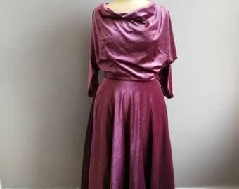 Vintage Velvet prom dress / dusty purple velvet evening dress / 80s does 50s  party dress / cowl neck velvet dress batwing sleeves UK 10
