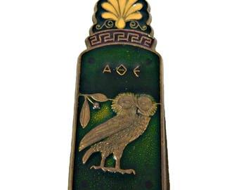 Greek Letter Clip Owl and Acropolis Enamel and Brass Souvenir