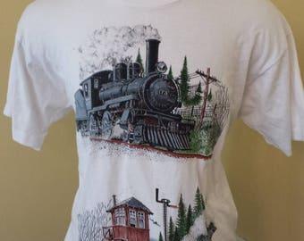 35% OFF SALE Vintage Trains 1990's tshirt - Hipster tshirt - 1990s vintage t-shirt - 90s vintage t shirt -  Cool tshirt (XL)